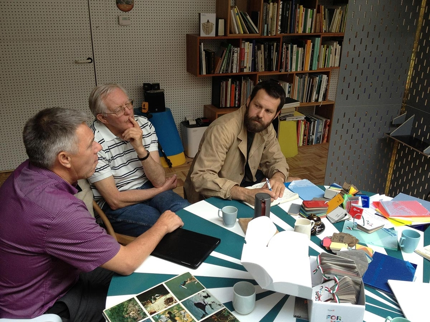 Ray Andrews & John Button from the Art Steering Group at Martino Gamper's London studio, July 2012