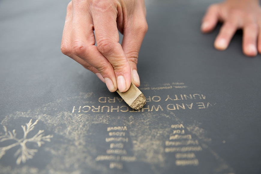 Brass rubbing workshop with Kayle Brandon. Photo: Lisa Whiting, 2017